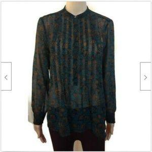 Loft green gold sheer ribbed tunic blouse